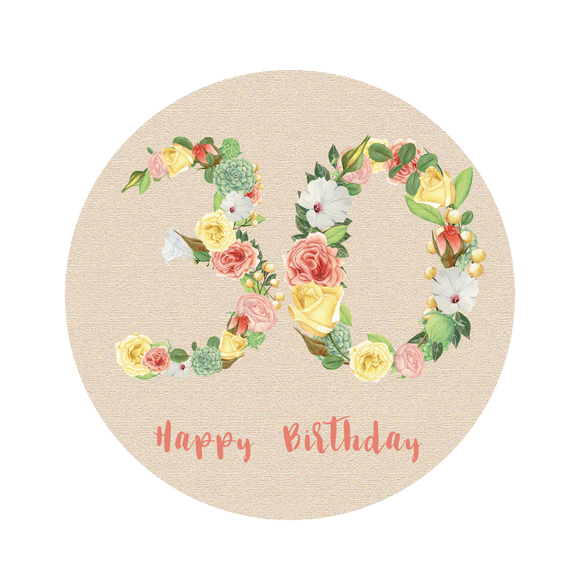 Thirty 30 Bright Floral Numbers Birthday Lollipop - Suck It & Say