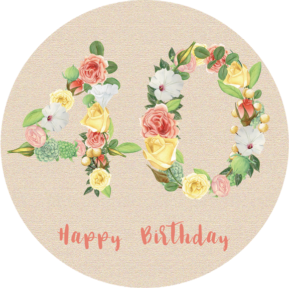Fourty 40 Bright Floral Numbers Birthday Lollipop - Suck It & Say