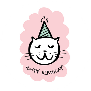 Cat With Party Hat Happy Birthday Lollipop - Suck It & Say