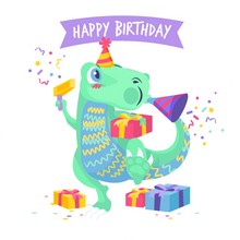 Load image into Gallery viewer, Dinosaur Happy Birthday Lollipop - Suck It & Say
