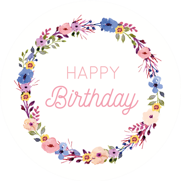 Floral Wreath Happy Birthday Lollipop - Suck It & Say