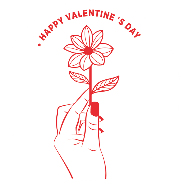 Hand Holding Flower Valentine's Lollipop - Suck It & Say