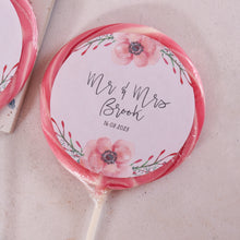 Load image into Gallery viewer, Mr and Mrs Floral Wedding Favour Giant Lollipops