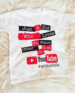 Just a Kid Who Loves To Watch Other Kids On YouTube T-shirt