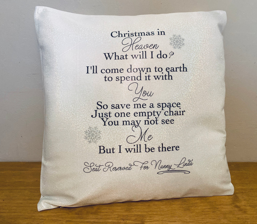 Seat Reserved Christmas In Heaven Sparkle Cushion
