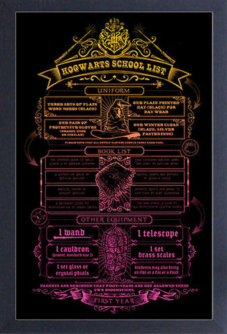 Harry Potter - School List Framed Print