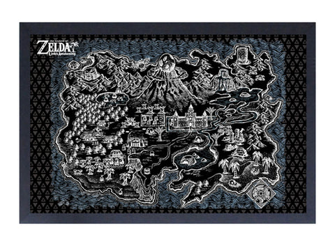 Zelda - Link's Awakening Black Map Framed Print