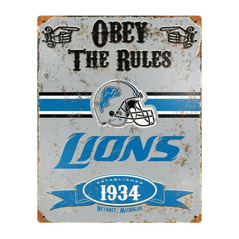 Detroit Lions Obey the Rules Metal Sign