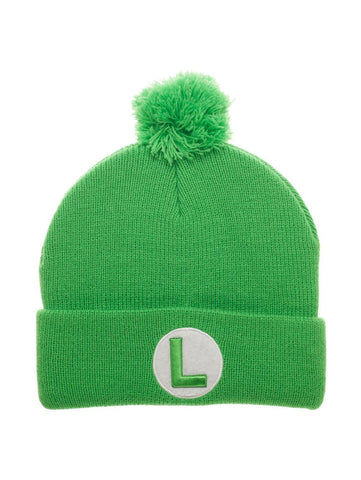 Luigi Embroidered Knit with Pom - Mario Winter Hat