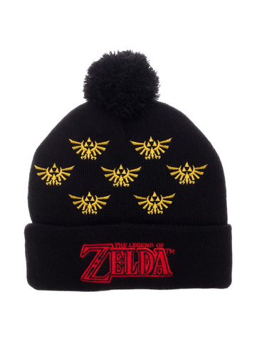 Triforce Multiple Embroidered Logo with Pom - Zelda Winter Hat