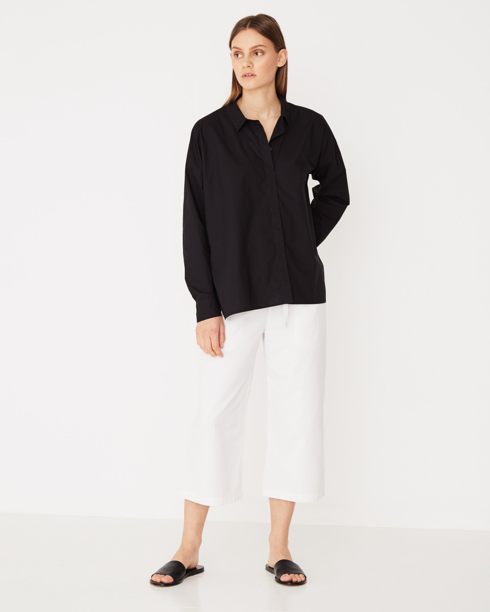 Cotton Voile Long Sleeve Shirt Black