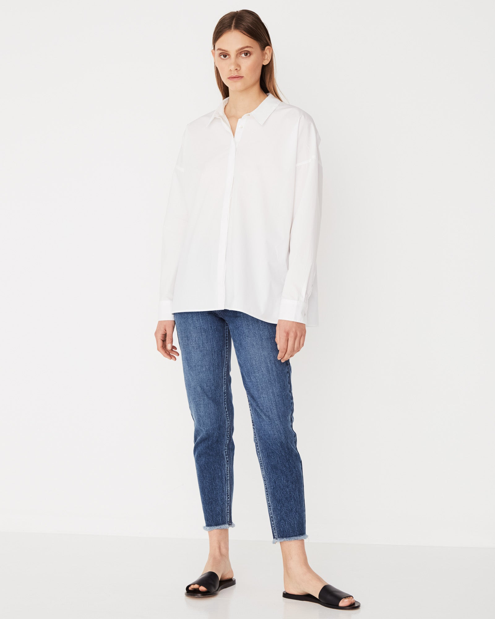Cotton Voile Long Sleeve Shirt White