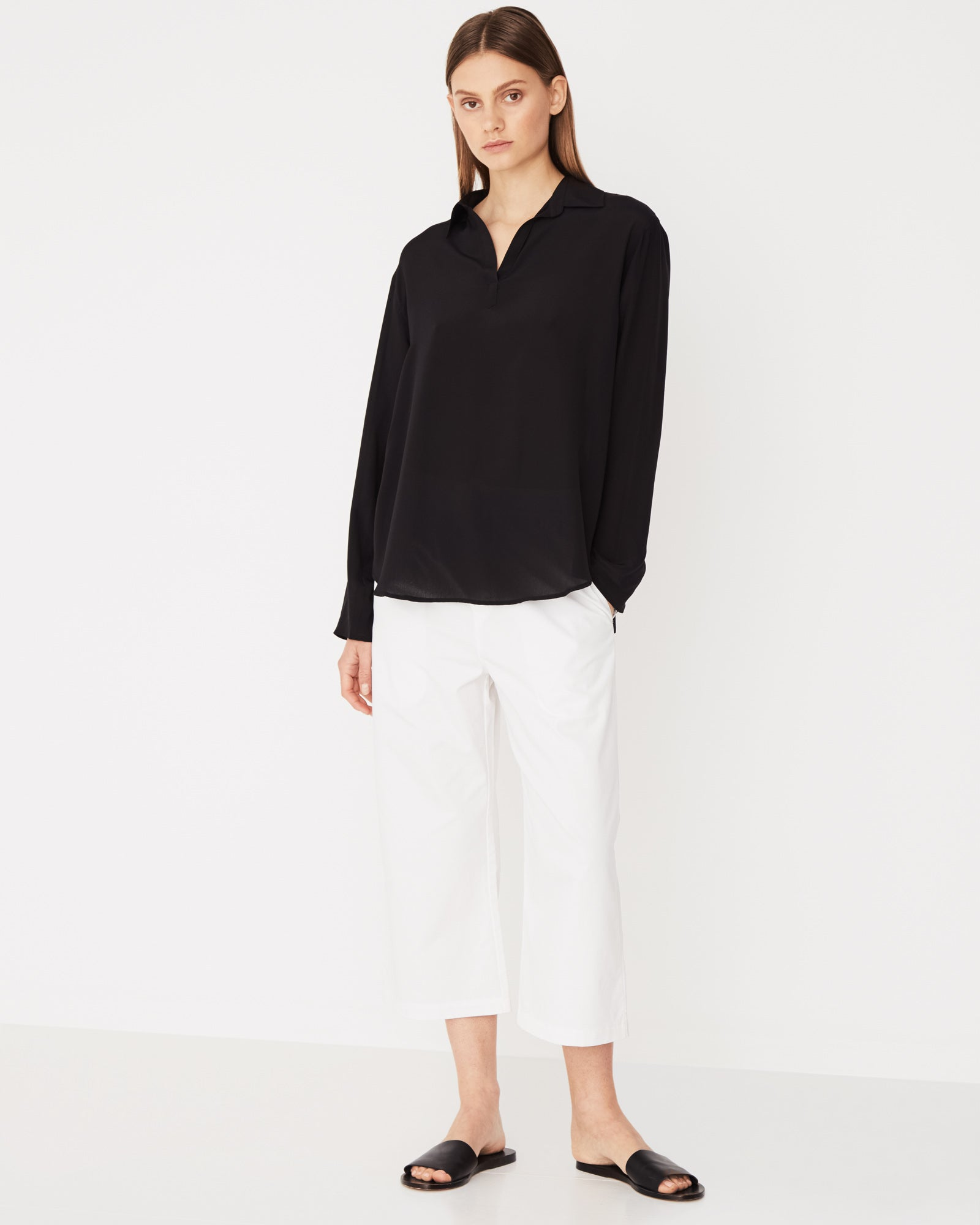 Kala Silk Long Sleeve Shirt Black