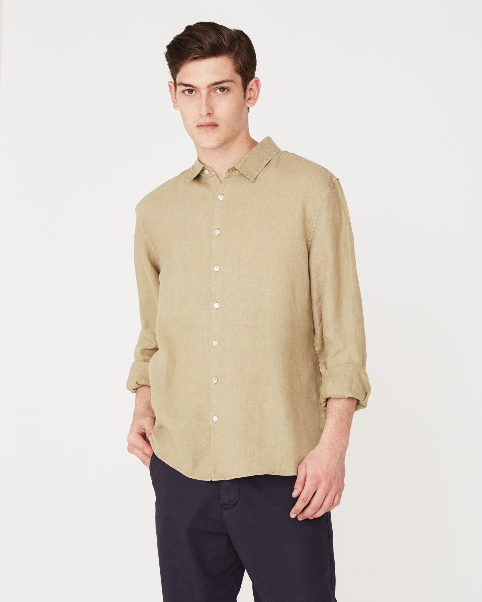 Casual Long Sleeve Shirt Olive
