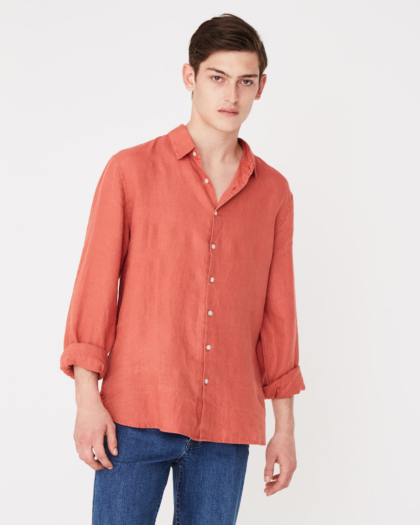 Casual Long Sleeve Shirt Brick