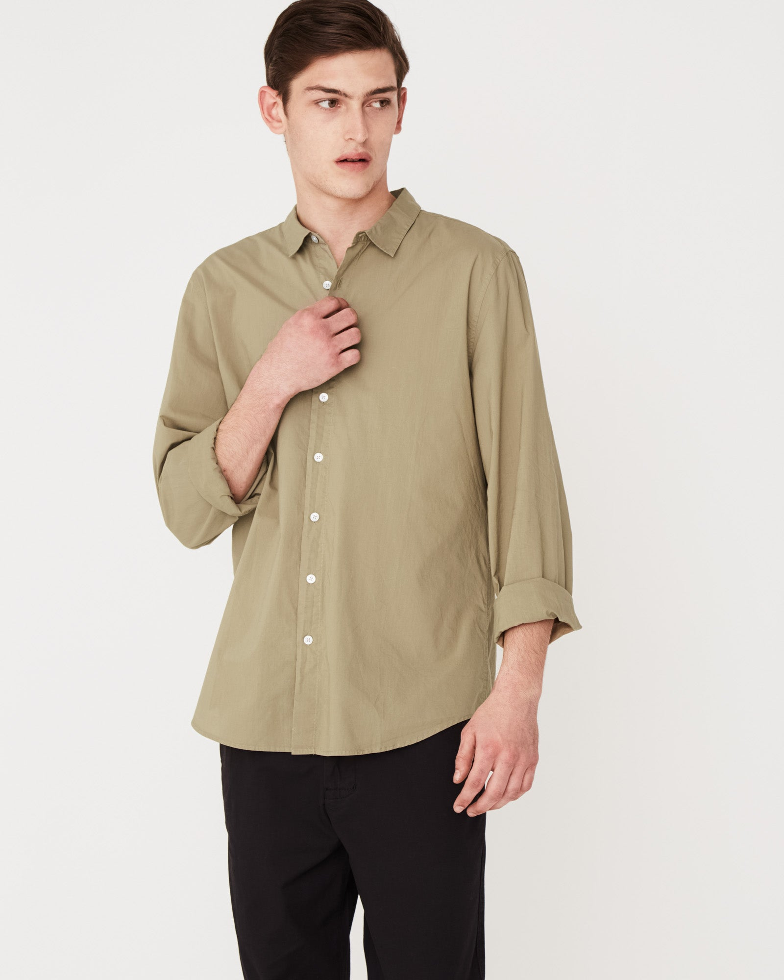 Washed Poplin Long Sleeve Shirt Olive