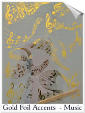 "Load image into Gallery viewer, Hokus Pokus Rub on Transfers - Gold Foil Accents ""Music"""