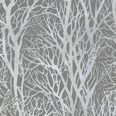 Wallpaper - Trees - Grey and Silver textured