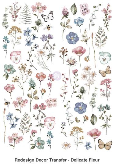 Redesign with Prima Rub On Transfers - Delicate Fleur 76.2 x 55.9cm