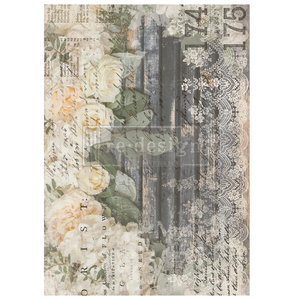 Redesign with Prima Rub On Transfers - White Fleur 56 x 76cm