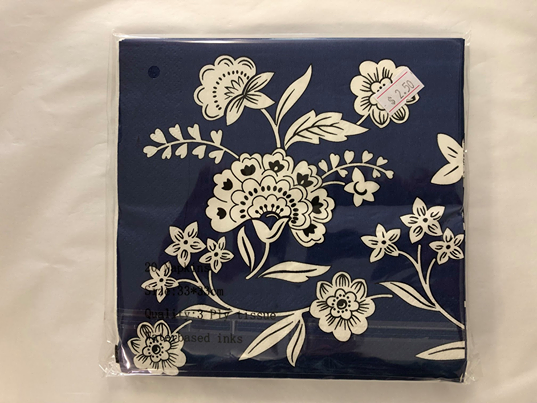Paper Napkins - Blue and white floral 20pk