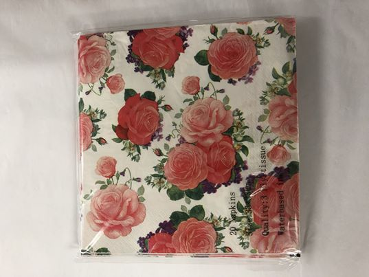 Paper Napkins - Pink Rose on white background NPK007 20pk