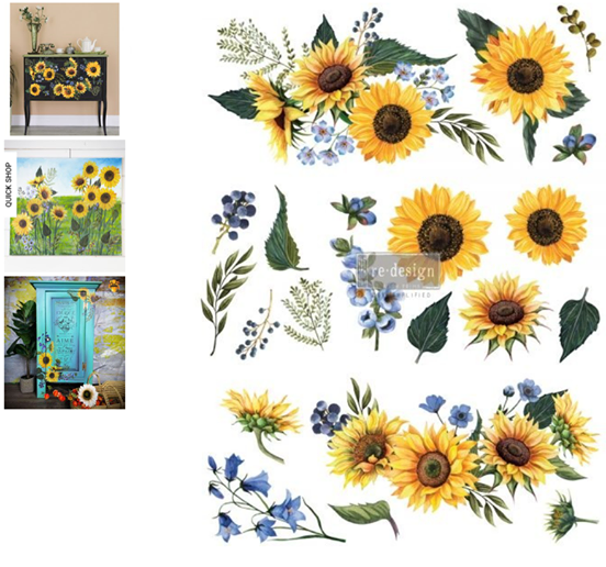 Redesign with Prima Rub On Transfers - Sunflower Fields