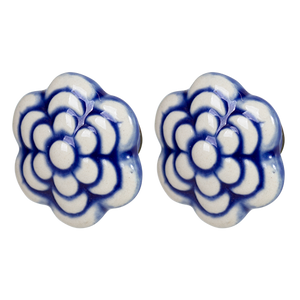 Pulls & Handles - Ceramic Blue Flower