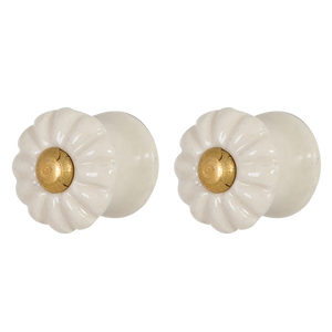 Load image into Gallery viewer, Pulls & Handles - Cream ceramic with gold CDK-2427