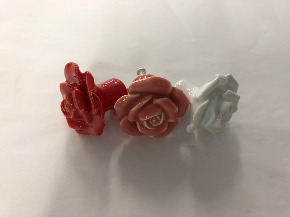 Load image into Gallery viewer, Pulls & Handles - Ceramic Roses - various colours