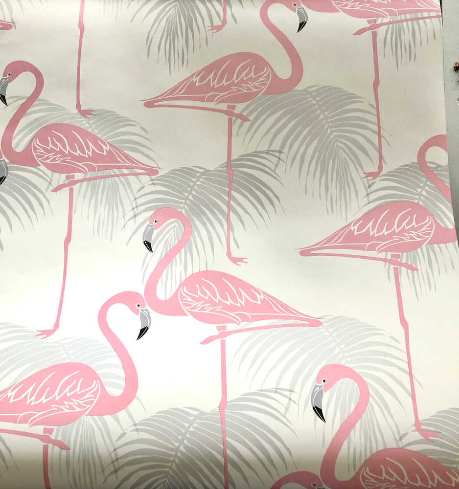Load image into Gallery viewer, Wallpaper - Flamingo & Palm Leaves Sheen Pink/Grey