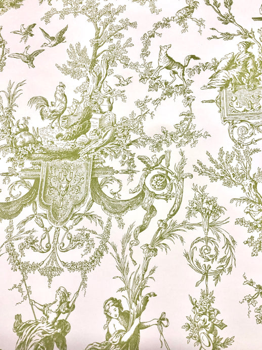 Wallpaper - Vintage Prepasted pale green Toile