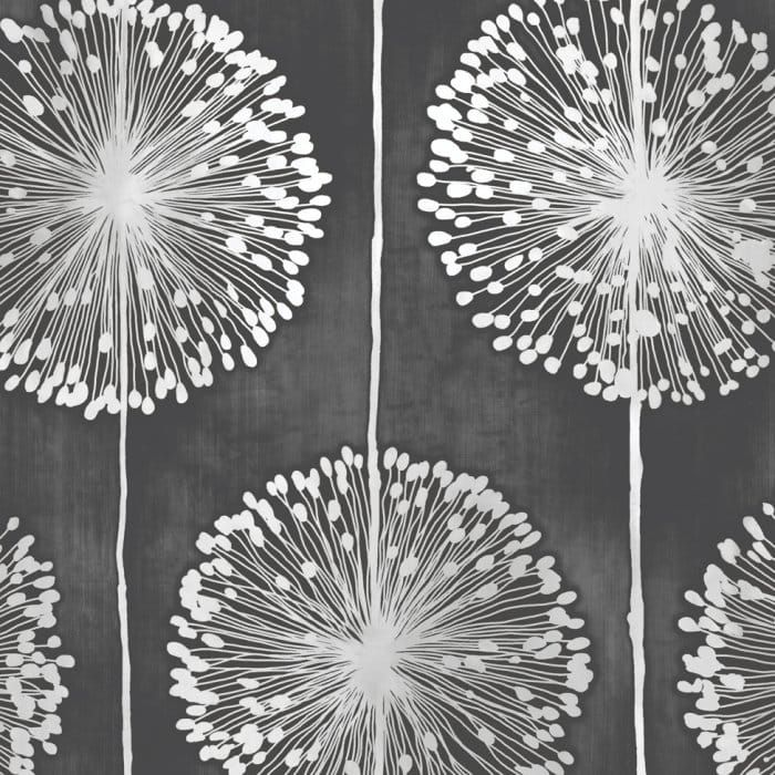 wallpaper - Dandelion Floral BLACK & GREY