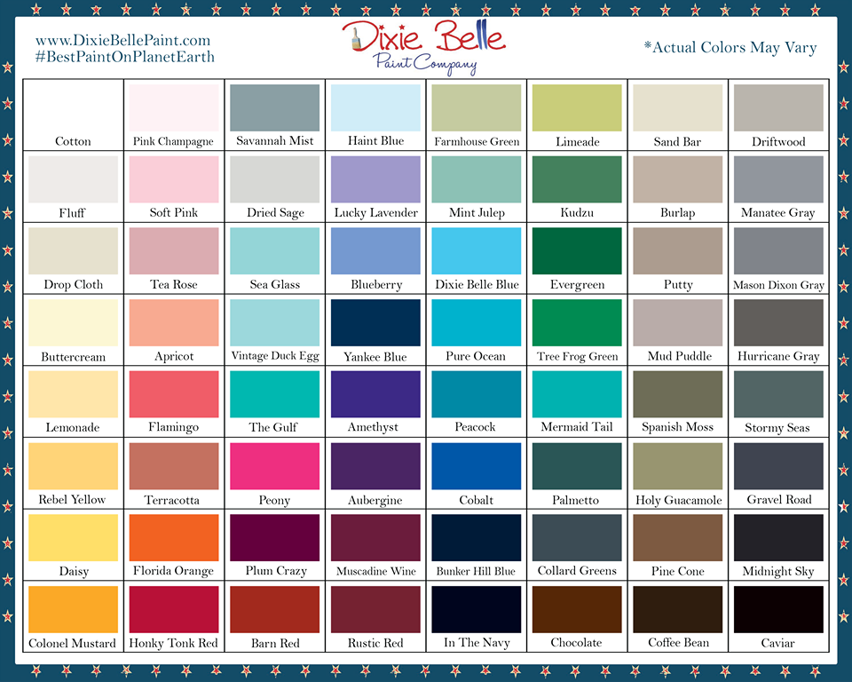 Dixie Bell Paint Colour Chart