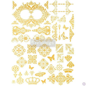 Redesign with Prima Rub On Transfers - Gold - Gilded Baroque Scrollwork (Retiring)