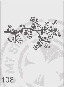 Stencils - Cherry Blossom branch with dragonflys #108