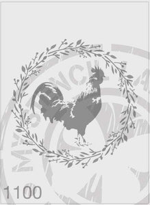 Rooster in a wreath stencil
