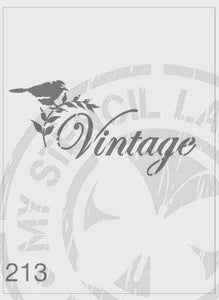 Stencils - Vintage, with bird on a branch #213