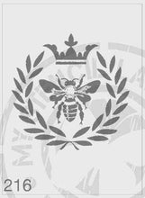 Load image into Gallery viewer, Queen bee in a wreath with a crown on the top stencils