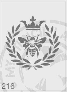 Queen bee in a wreath with a crown on the top stencils
