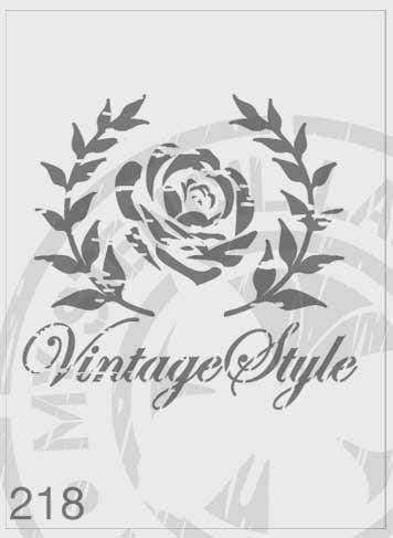Vintage style rose in wreath stencil
