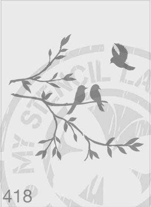 Stencils - Birds on a branch with one flying bird #418