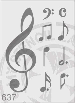 Load image into Gallery viewer, Stencils - Music Notes #637