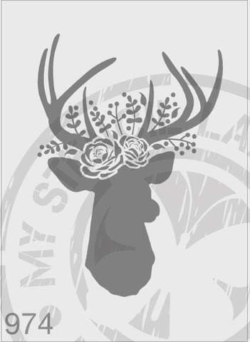 Stencils - Deer with Roses Wreath #974