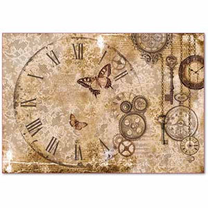 Load image into Gallery viewer, Rice Paper - Steampunk Gears,lace & Butterflies DFS386