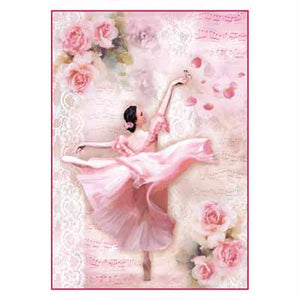 Rice Paper Dancer with petals A4 DFSA4308