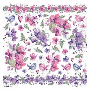 Rice Paper - Watercolour Violets - 4 pk DFT303
