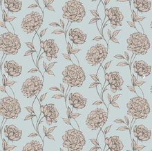 Load image into Gallery viewer, Wallpaper - Pretty Floral - Soft Blue