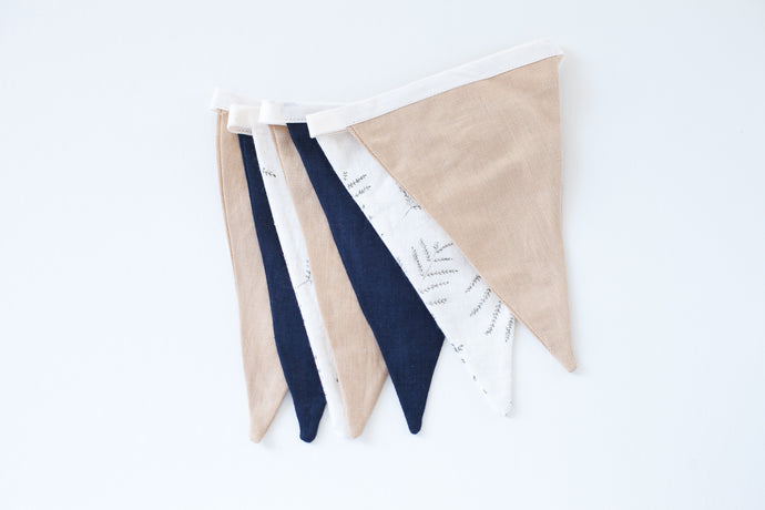 Linen Bunting - Golden Tan, Navy, Leaf