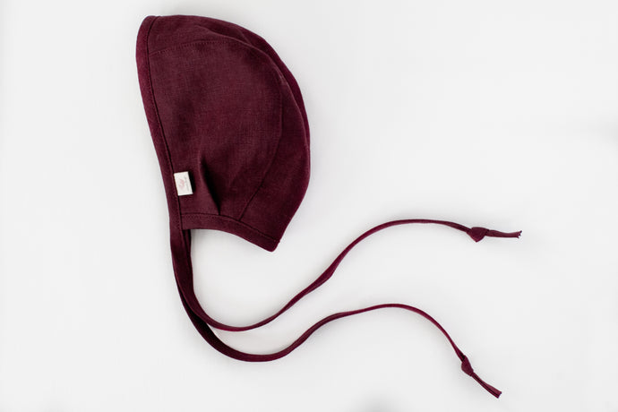 Linen Bonnet - warm flannel lining -  in merlot